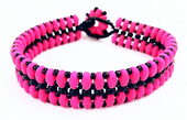 Flat SuperDuo Bracelet Beadwork Kit - Neon Pink and Black